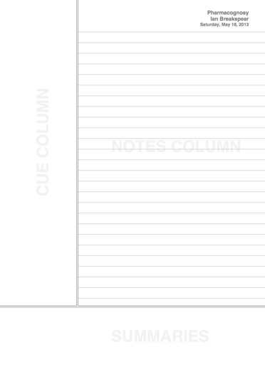 The Cornell Notes page format