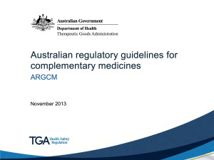 australian regulatory guidelines for complementary medicines argcm
