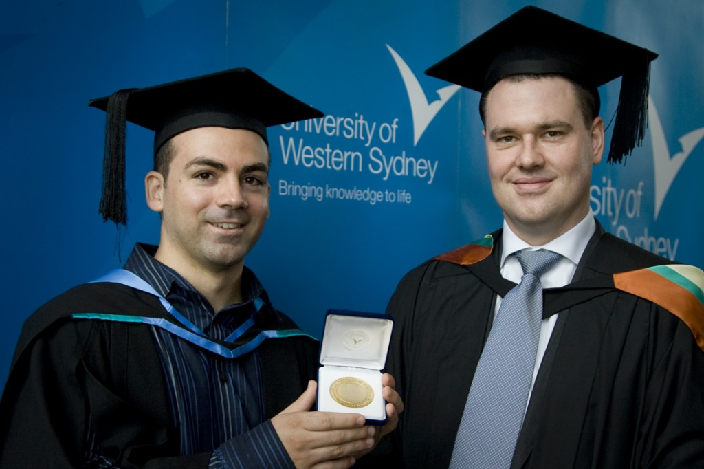 Angelo with University Medal and Ian Breakspear