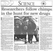 Chimps and herbs newspaper article thumbnail